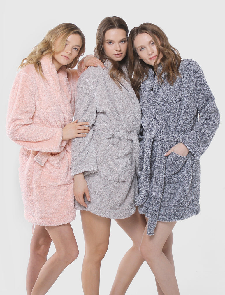 b2e62a593f Cozy Short Plush Robe Grey - Papinelle Sleepwear