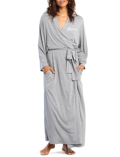 Basic Maxi Knit Robe in Grey