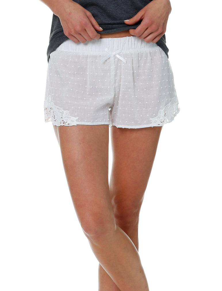Swiss Dot White Lace Boxer
