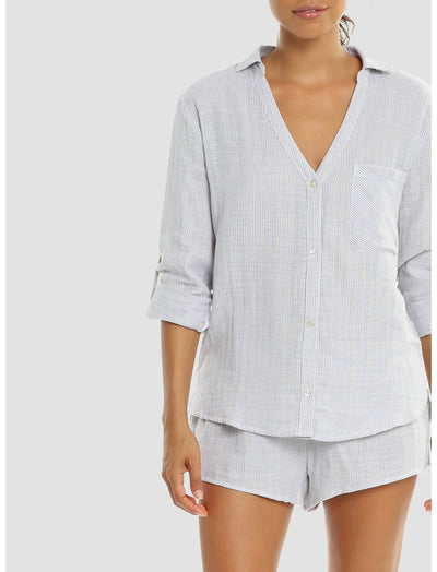 Organic Cotton Natural Stripe PJ Top