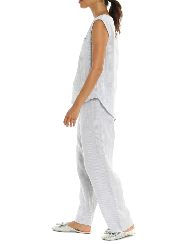 Organic Cotton Natural Stripe PJ Pants