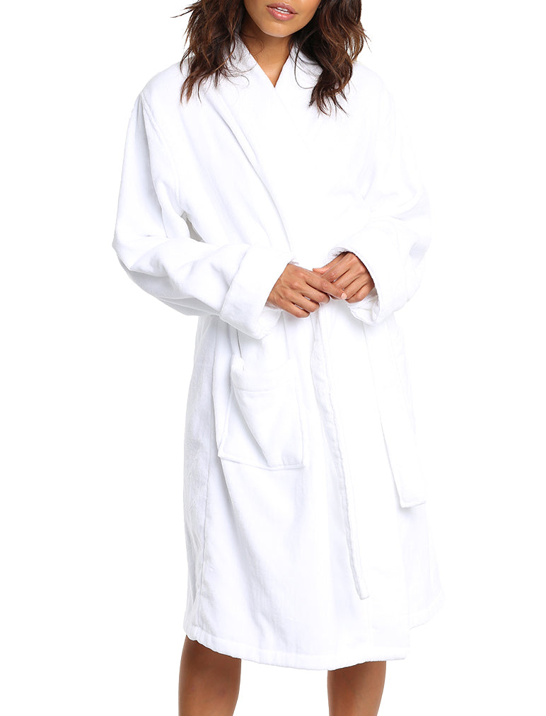 Short Towelling Robe White