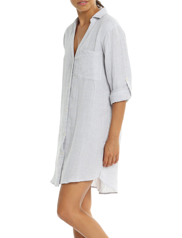 Organic Cotton Stripe Boyfriend Shirt