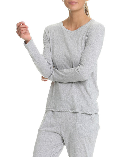 Cotton Long Sleeve Top in Grey