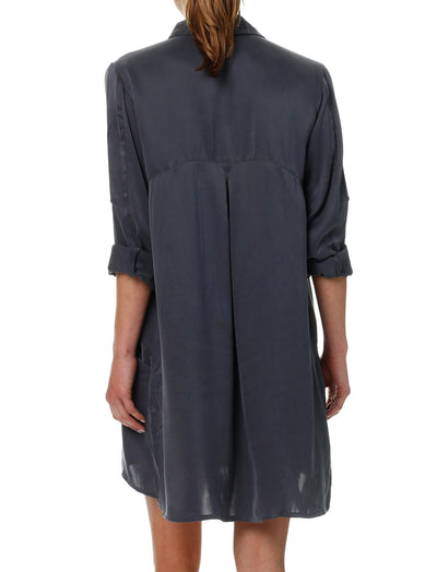 Pure Silk Nightshirt in Slate