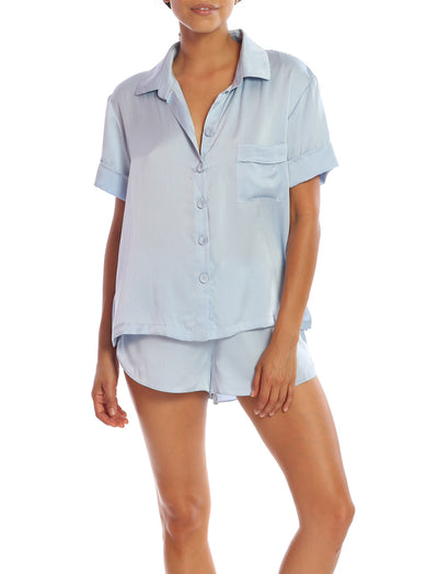 Silk Shortie PJ Set in Pale Blue