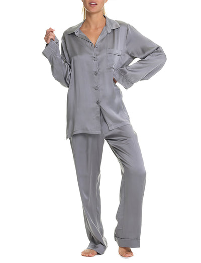 Pure Silk Pyjamas, Charcoal