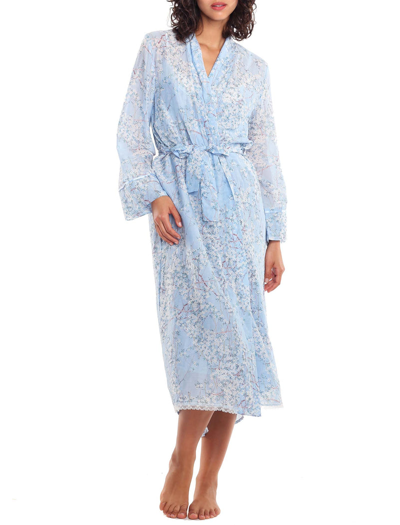 Papinelle Cherry Blossom Blue Maxi Robe Papinelle Sleepwear