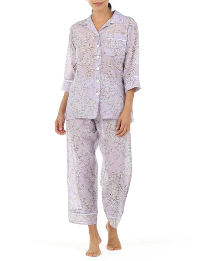 Cherry Blossom Lilac Crop Pyjamas in Silk Cotton