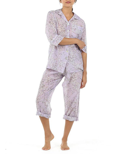 Cherry Blossom Lilac cotton silk pyjamas