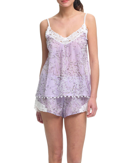 cherry blossom lilac camisole and boxer short PJ Set