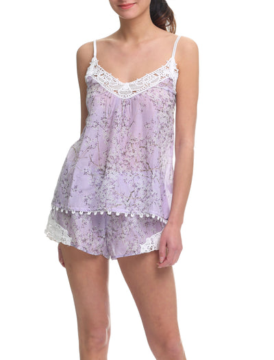 cherry blossom lilac camisole and boxer short