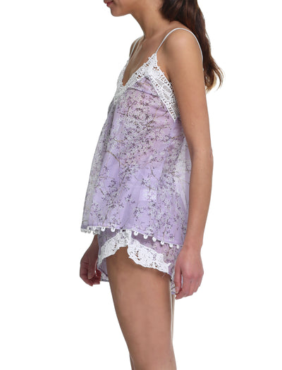 cherry blossom lilac camisole and boxer short Side