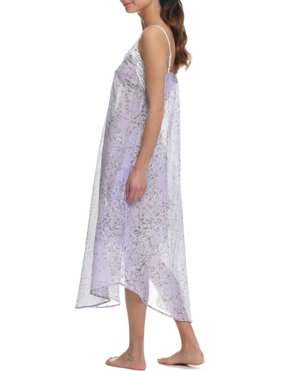 Cherry Blossom Lilac Lace Front Maxi Nightie