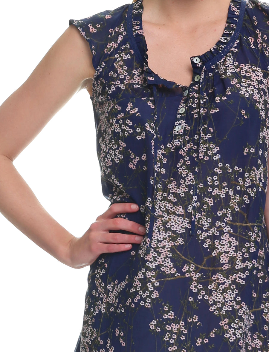 Cherry Blossom Navy Flutter Nightie