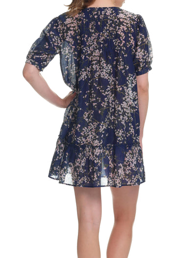 Cherry Blossom Navy Pintuck Nightie