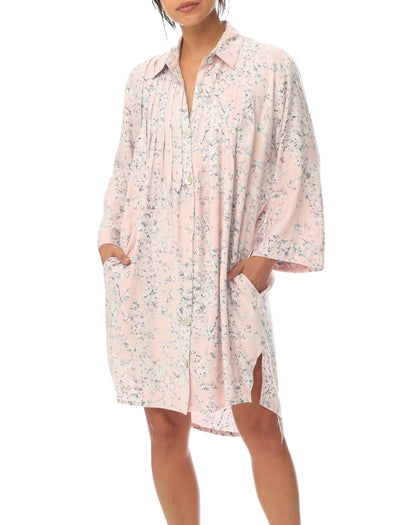 Cherry Blossom Pink Cozy Pleat Front Nightie