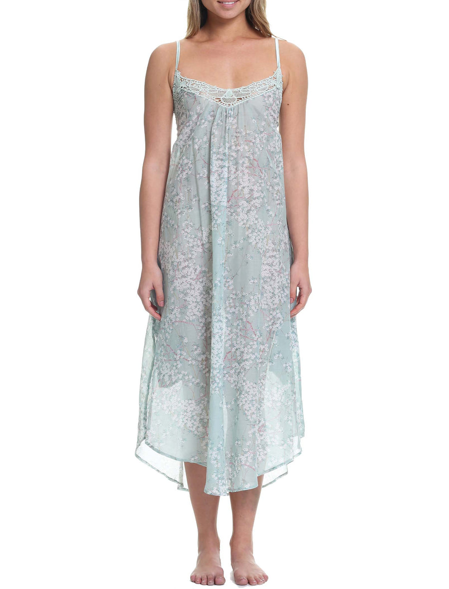 Cherry Blossom Sage Maxi Nightie