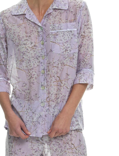 Cherry Blossom Lilac 3/4 pyjamas Close