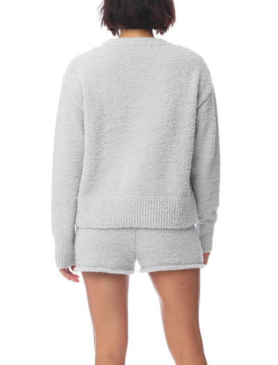 Cozy Knit V-Neck Crop Jumper in Slate Grey