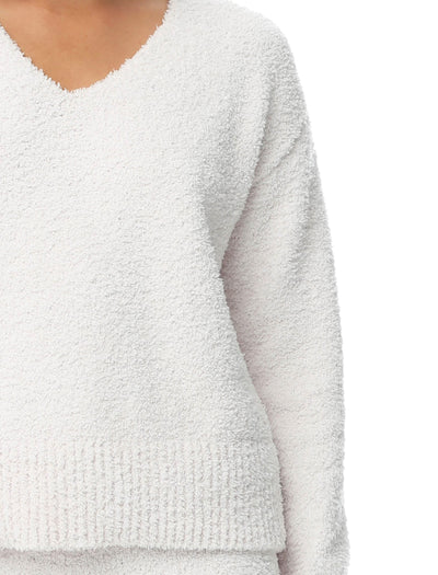 Cozy Knit V-Neck Crop Jumper in Romance