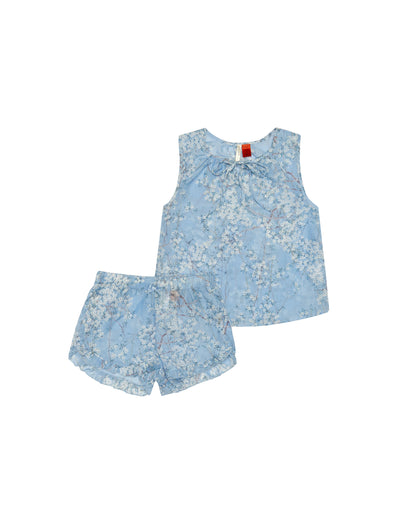 Kids Cherry Blossom Blue Cami Boxer Set