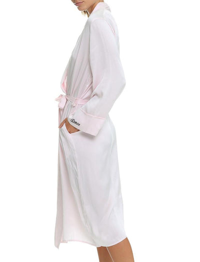 Ice Pink Silk Long Robe