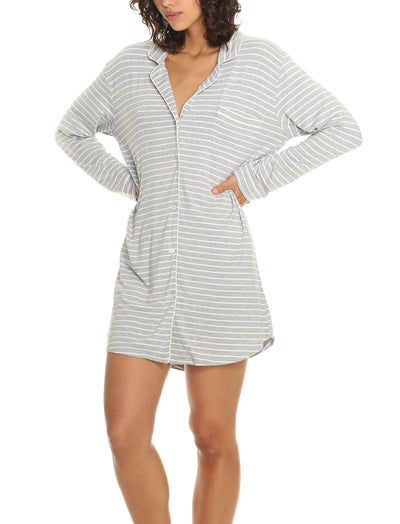 Modal Soft Kate Nightshirt in Grey Stripe