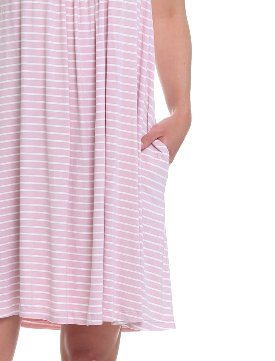 Modal Stripe Pleat Front Nightie, Pink & White
