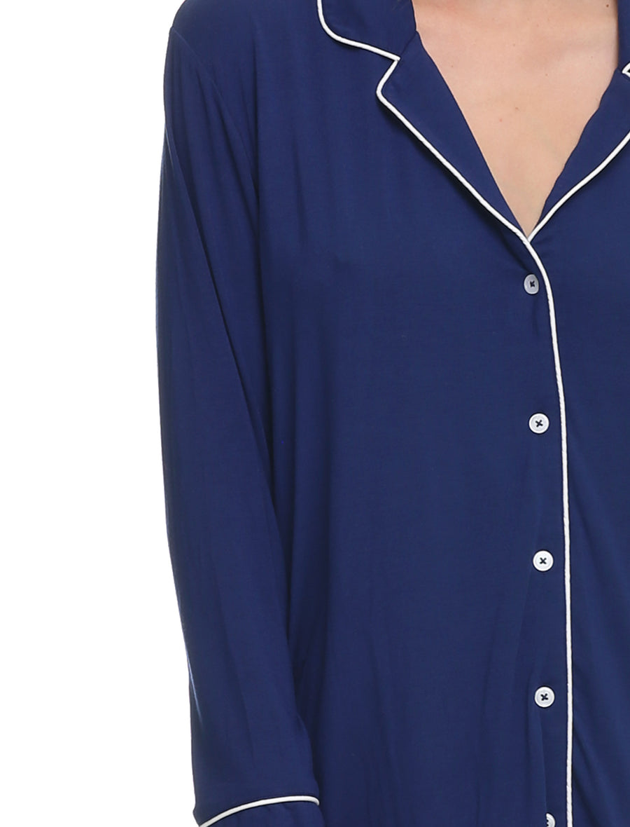 Modal Kate Pleat Front Nightshirt, Navy