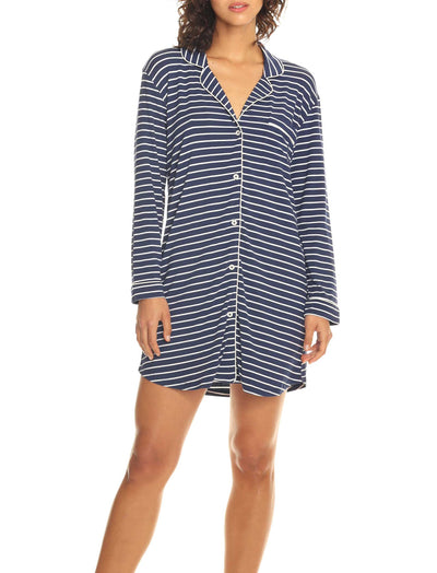 Modal Soft Kate Nightshirt in Navy with White Stripe