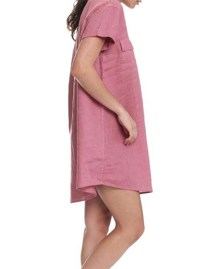 Resort Linen Nightshirt in Dusty Pink