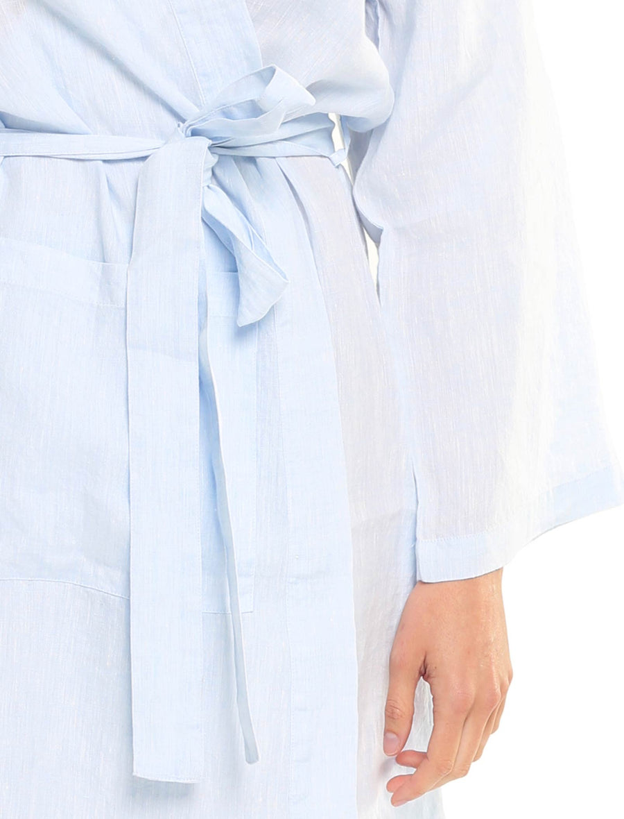 Resort Linen Robe in Sky Blue
