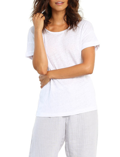 Pure Linen Tee in White