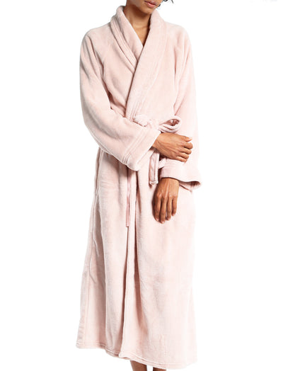Long Plush Robe in Light Pink