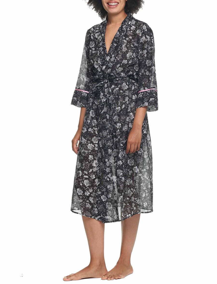 Louis Dark Cotton Silk Robe Front