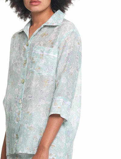 Louis Mint Cotton Silk Pyjamas Close