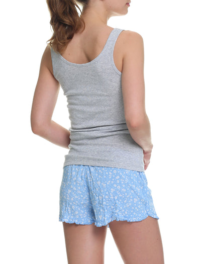 Mathilda Blue Frilled Boxer and Singlet Set