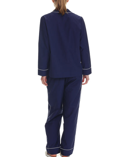 Mia Cotton Silk PJ Set, Navy