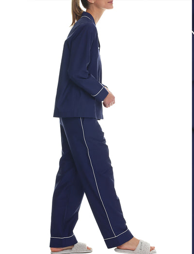 Mia Luxe Cotton Silk PJ Set in Navy