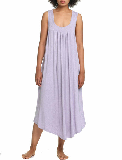 Modal Soft Pleat Front Maxi Nightie in Lilac