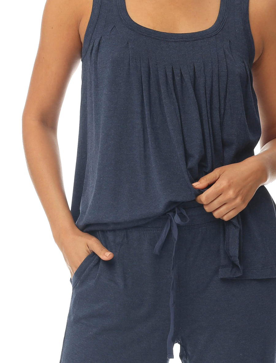 Modal Pleat Front Cami and Pant Set, Navy