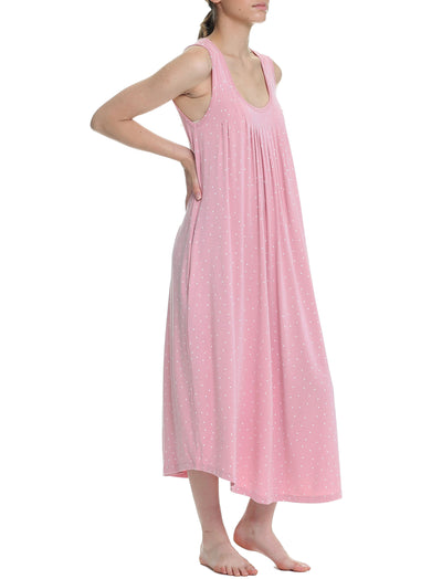 Pink Spot Modal Soft Pleat Front Maxi Nightie