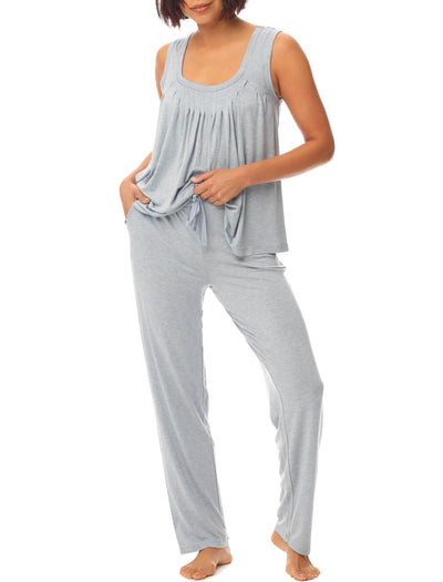 Modal Pleat Front Cami and Pant Set in Powder Blue