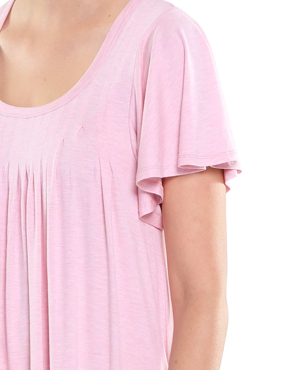 Modal Pleat Front Flutter Nightie Pink