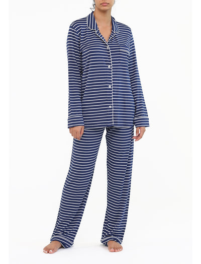 Modal Soft Kate PJ in Navy with White Stripe