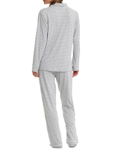 Kate Soft Modal PJ - Grey/White Stripe