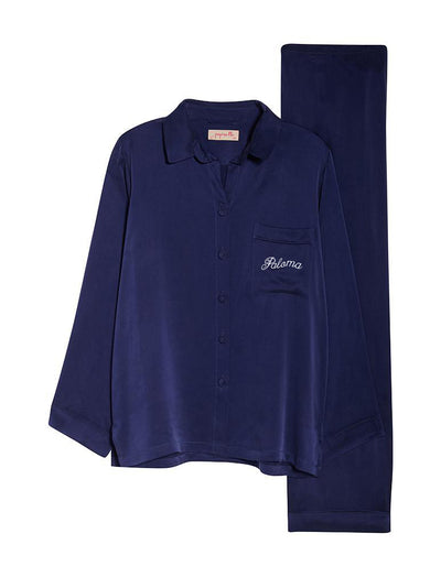 Personalised Silk Pyjamas in Navy
