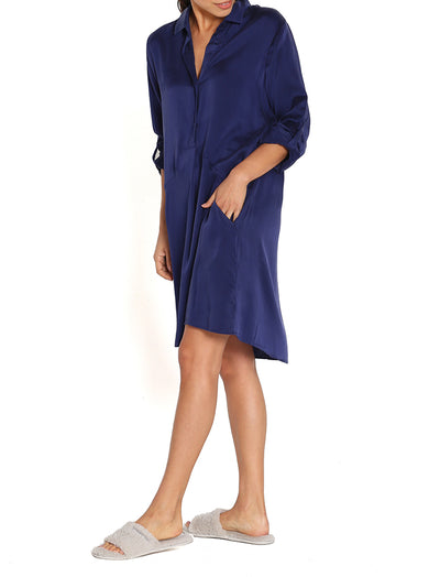 Navy Silk Nightshirt