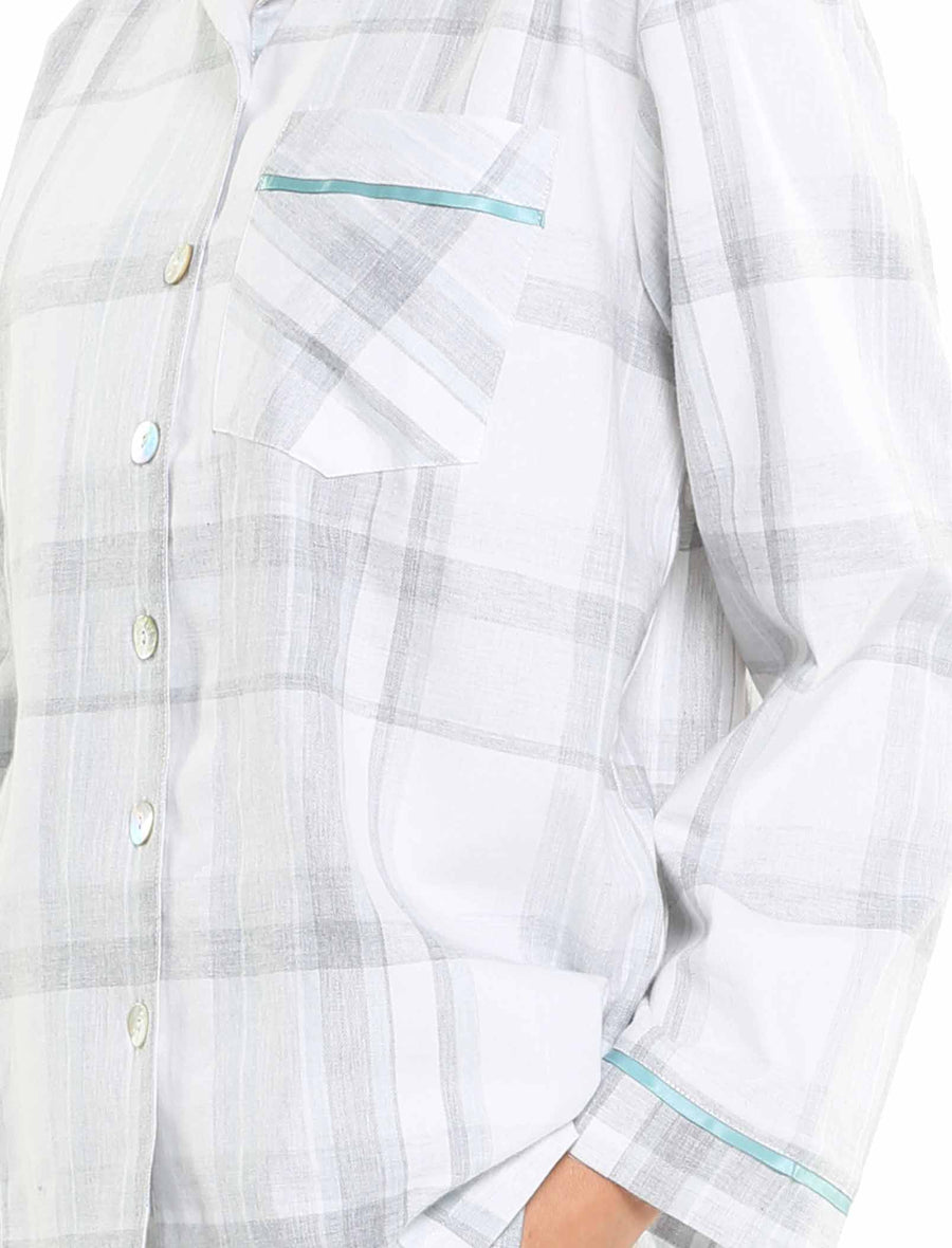 Brushed Cotton Plaid PJ in Blue Green